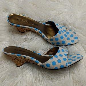 Madison Studio Tan Aqua Polka Dot Sandals 7 1/2